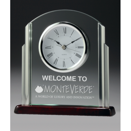 CG519 Clock, Chrome & Timber 190mm